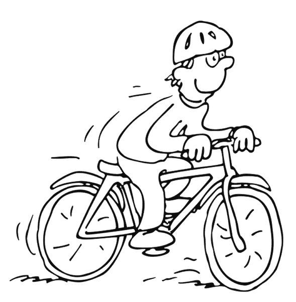 Раскраска Прогулка на велосипеде. Скачать Велосипед.  Распечатать Велосипед