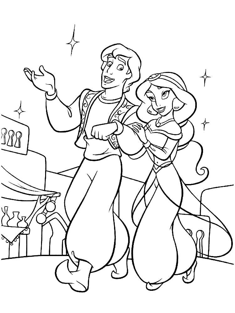 Раскраска Картинки для раскрашивания с принцессой Жасмин. Скачать Алладин, Жасмин.  Распечатать Алладин
