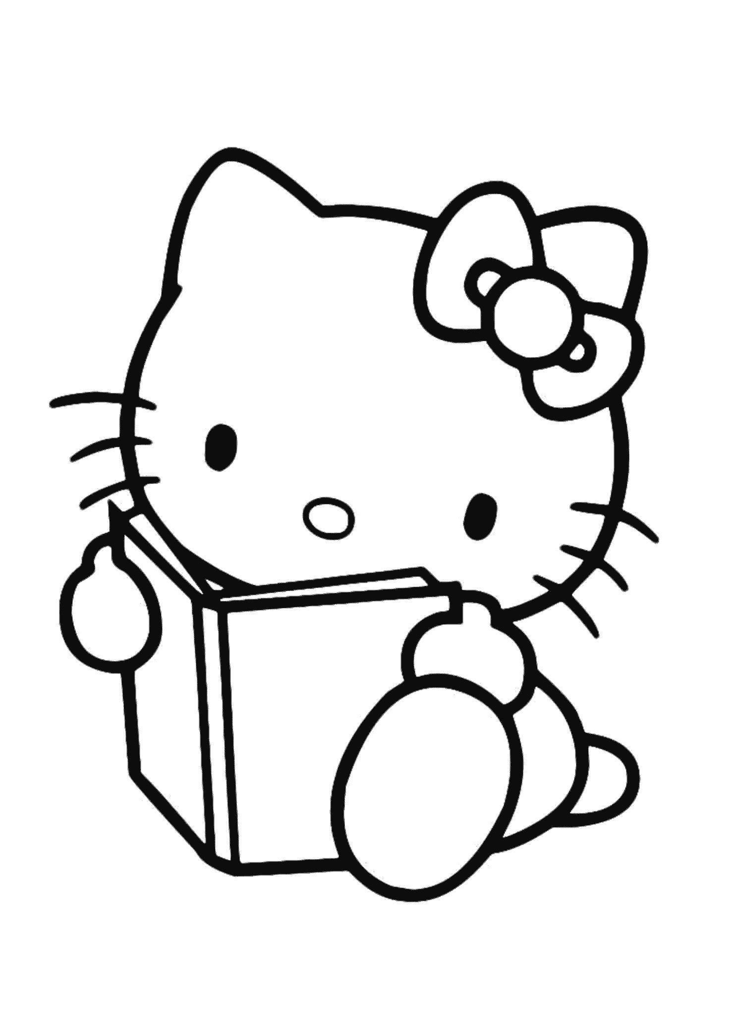 Раскраска Китти девочка читает книжку. Скачать китти.  Распечатать китти