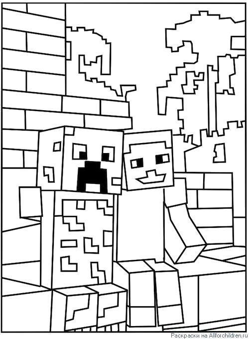 Раскраска Игра майнкрафт. Скачать .  Распечатать