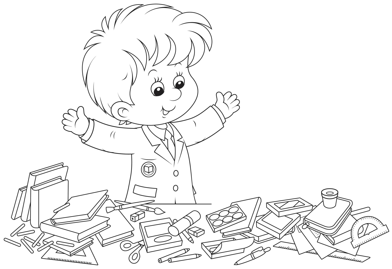 Раскраска Ученик наводит порядок на столе. Скачать 1 сентября.  Распечатать 1 сентября