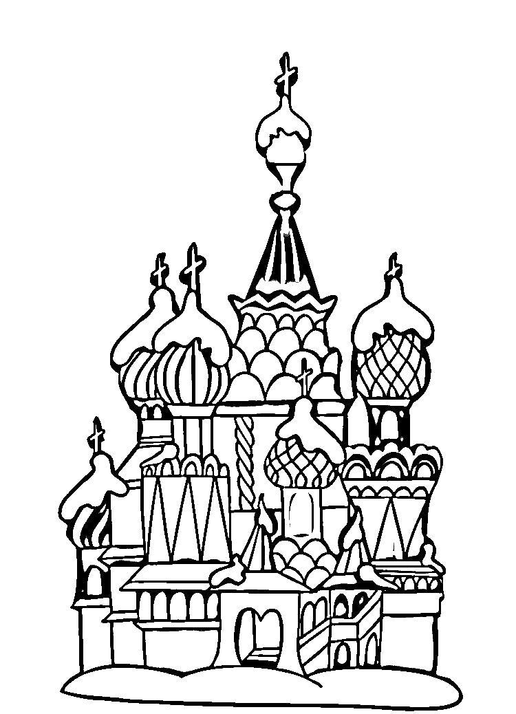 Раскраска   день россии  день россии,  россия, кремль, москва . Скачать Москва.  Распечатать Москва