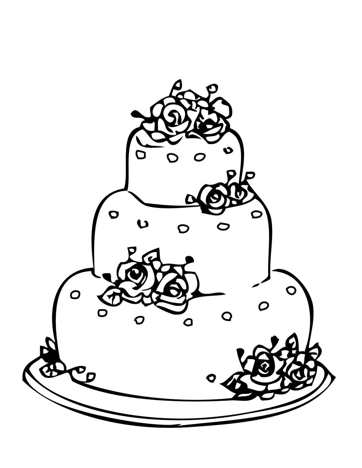 """Раскраска  """"торт со свечами на день рождения"""" . Скачать торт.  Распечатать еда"""