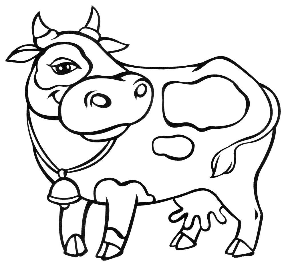 Раскраска Пятнистая буренка. Скачать Корова.  Распечатать Домашние животные