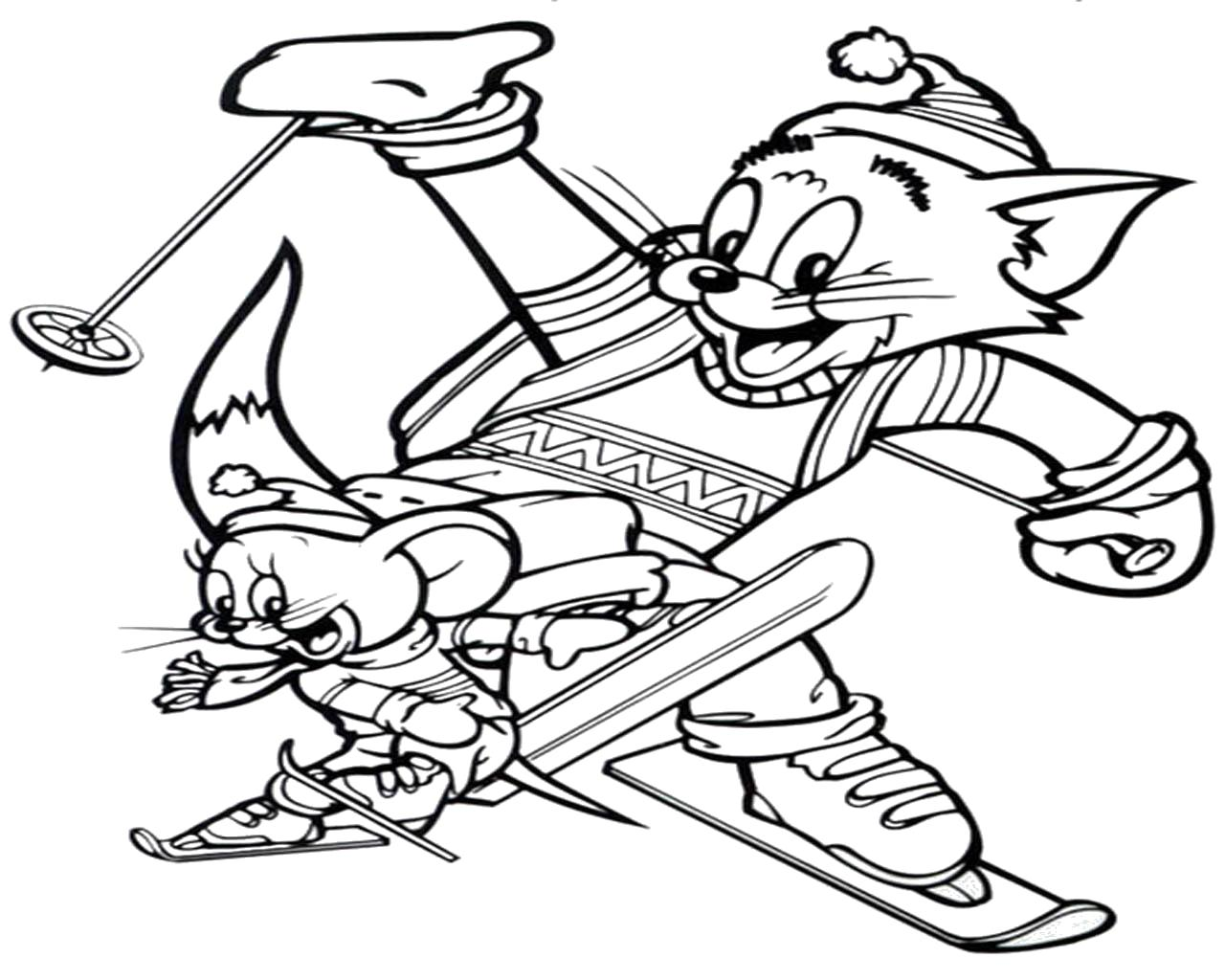 Раскраска Том и Джерри на лыжах. Скачать Том и Джерри.  Распечатать Раскраски из мультфильмов