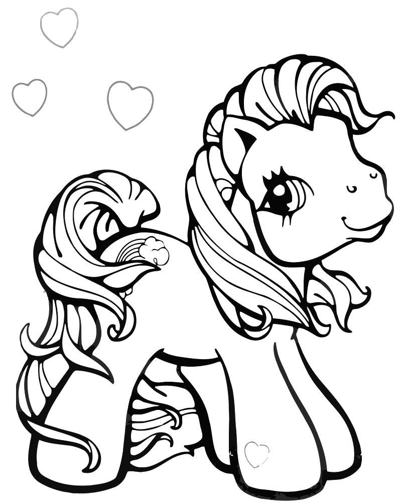 Раскраска пони с сердечками. Скачать пони.  Распечатать пони