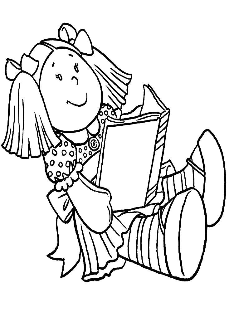 Раскраска  кукла читает книгу. Скачать кукла.  Распечатать Для девочек