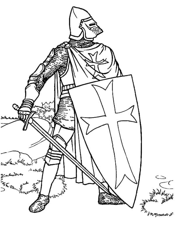 Раскраска Крестоносец. Скачать Рыцарь.  Распечатать Рыцарь