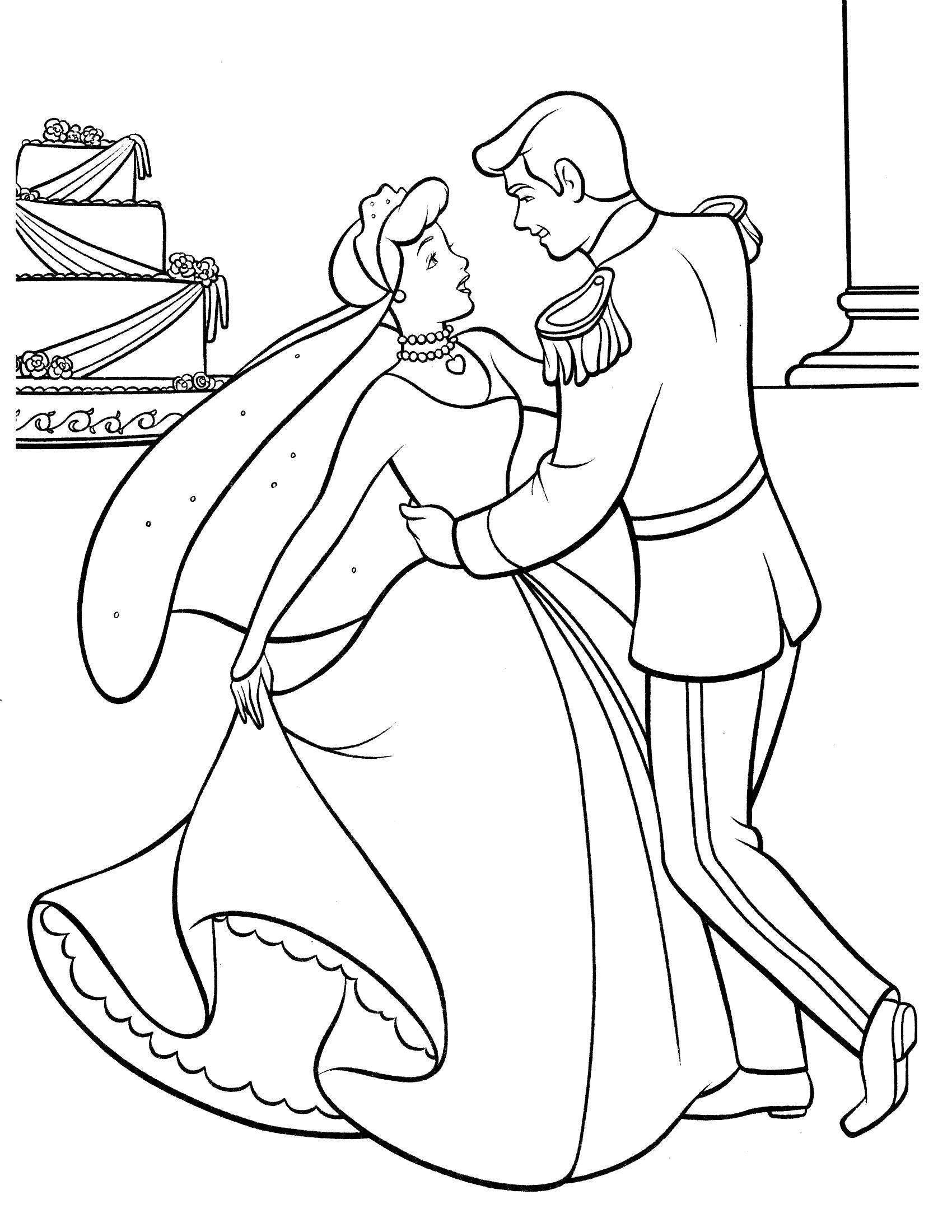 Раскраска Золушка и принц танцуют. Скачать Танцуют.  Распечатать Танцуют