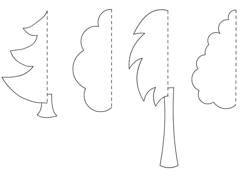Раскраска  дуб вырезаем из бумаги береза елка дуб клен. Скачать Елка.  Распечатать Елка