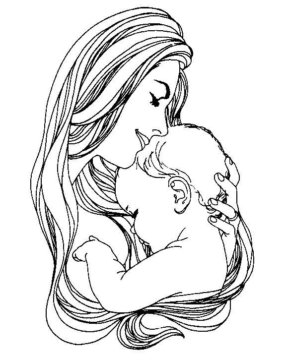Раскраска младенец с мамой. Скачать День Матери.  Распечатать День Матери
