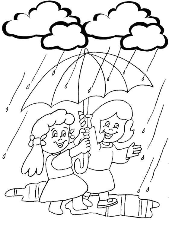 Раскраска  Весенний дождик. Скачать дождь.  Распечатать дождь
