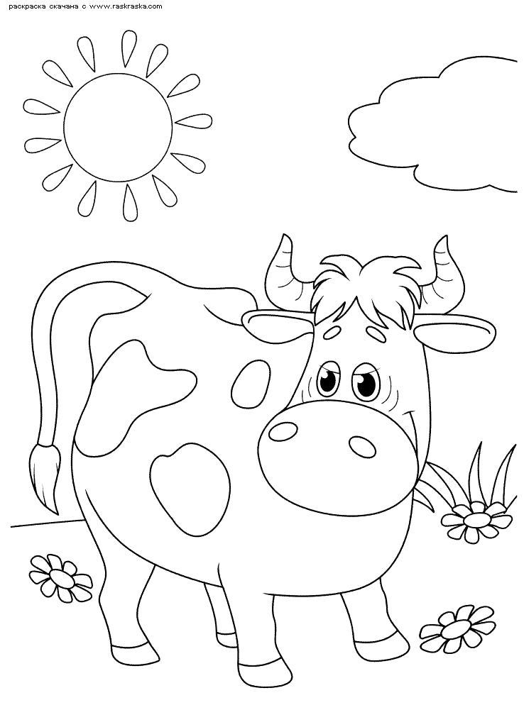 Название: Раскраска Корова Мурка. Категория: Домашние животные. Теги: Корова.