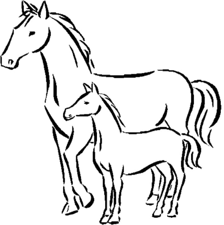 Раскраска Жеребенок с мамой. Скачать Лошадь.  Распечатать Домашние животные