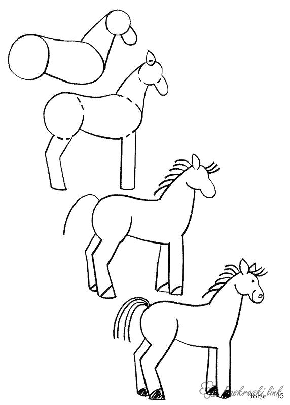 Раскраска  коня как нарисовать коня. Скачать как нарисовать.  Распечатать Учимся рисовать