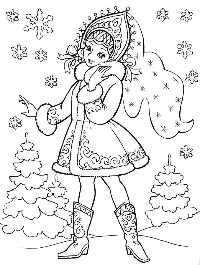 Раскраска Снегурочка в сапожках.. Скачать Снегурочка.  Распечатать Новый год