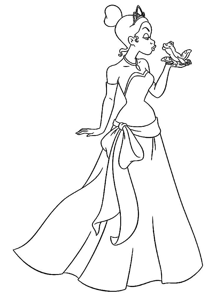 Раскраска принцесса и лягушка. Скачать принцесса.  Распечатать принцесса
