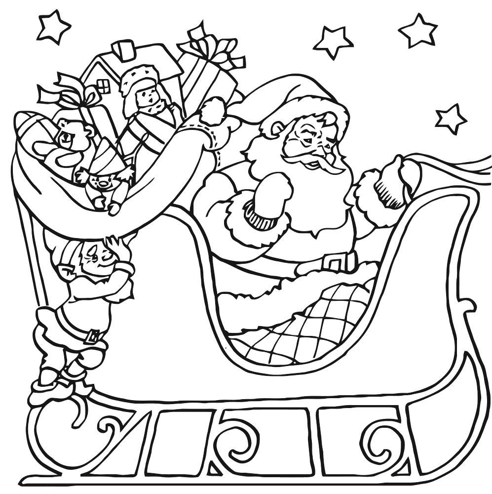 Раскраска дед мороз  на санях, . Скачать Рождество.  Распечатать Рождество