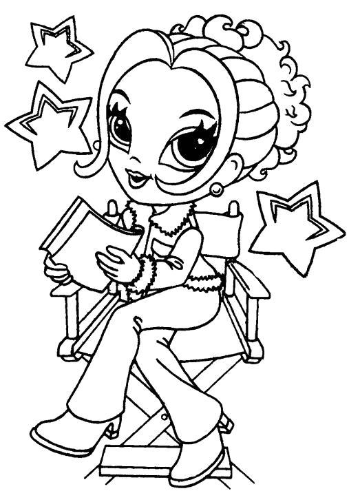 Раскраска девочка читает книгу. Скачать Девочка.  Распечатать Девочка