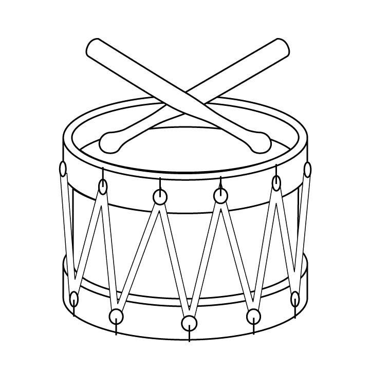 Раскраска  картинки - музыкальный инструмент барабан  . Скачать Барабан.  Распечатать Барабан