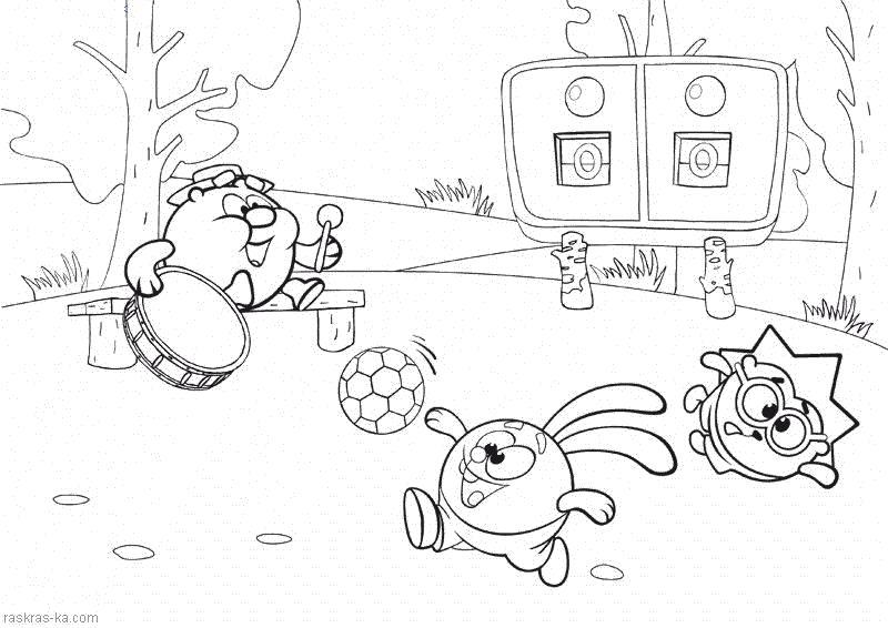 Раскраска Мультик Смешарики -  для детей. Копатыч тренер по футболу.. Скачать Копатыч, Крош, Ежик.  Распечатать Смешарики
