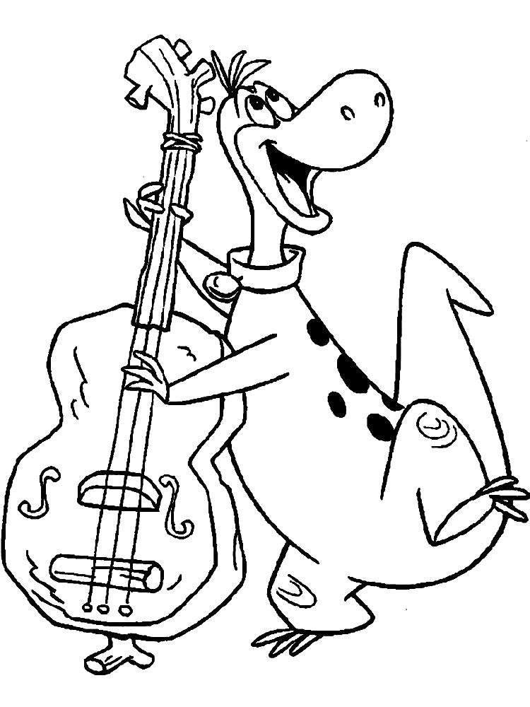 Раскраска  Флинстоуны, дино играет на гитаре. Скачать Флинстоуны.  Распечатать Флинстоуны