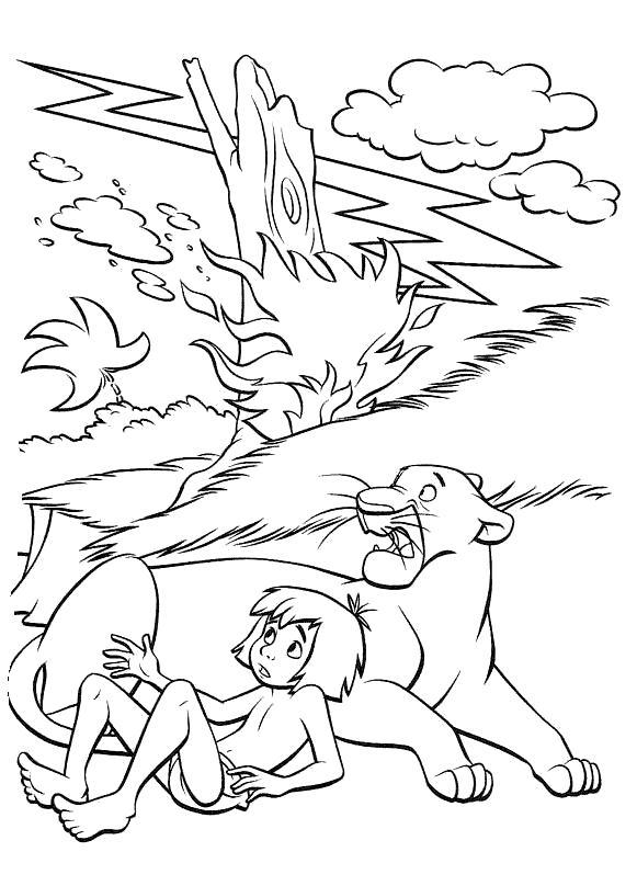 Раскраска Гроза. Скачать книга джунглей.  Распечатать книга джунглей