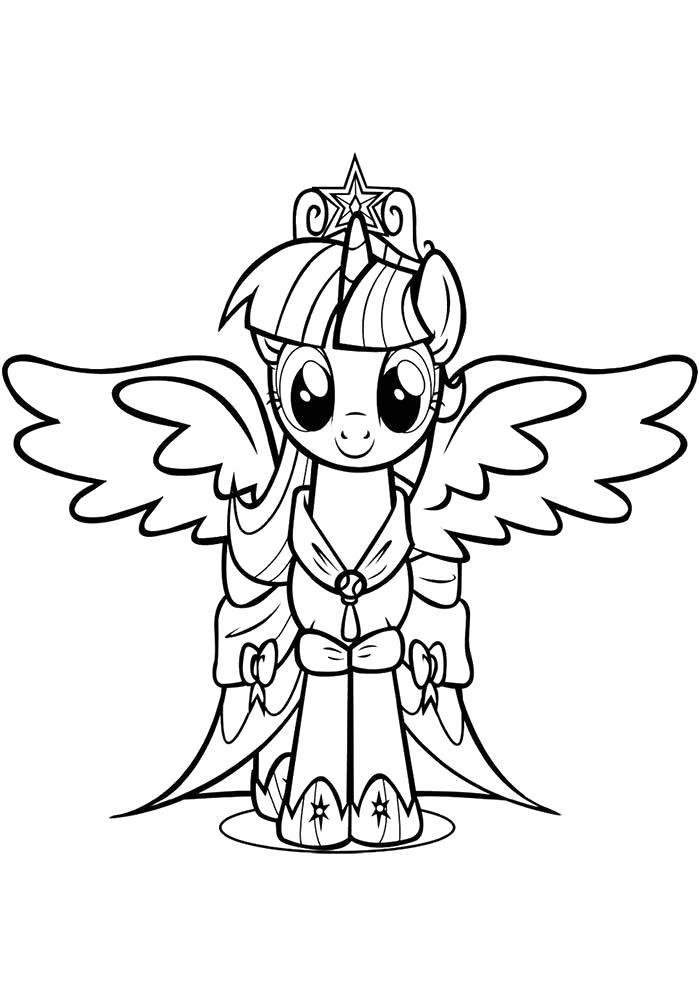 Раскраска пони с крыльями. Скачать пони.  Распечатать пони