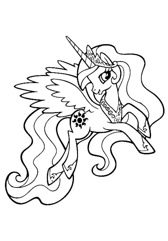 Раскраска  май литл пони Селестия. Скачать Пони.  Распечатать Пони