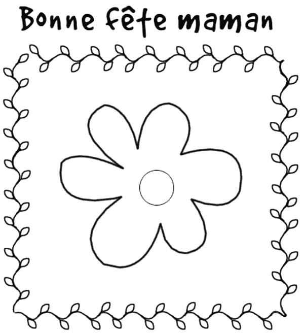 Раскраска открытка маме идея для аппликации. Скачать День Матери.  Распечатать День Матери