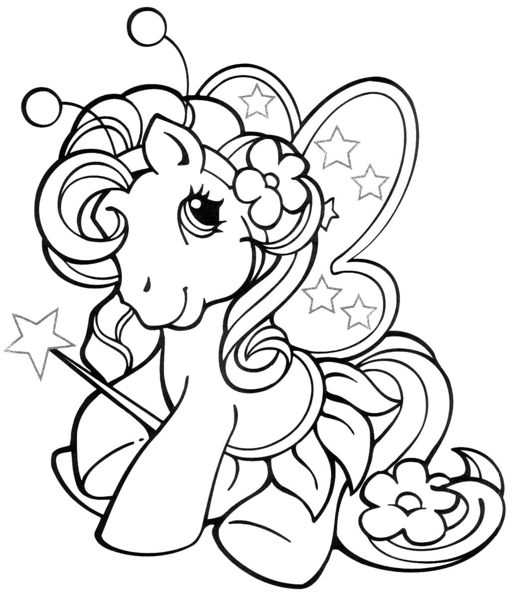 Раскраска милая пони с крылышками. Скачать пони.  Распечатать пони