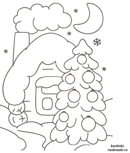 Раскраска Картинки  для детей новогодние елочка и домик . Скачать Дом.  Распечатать Дом