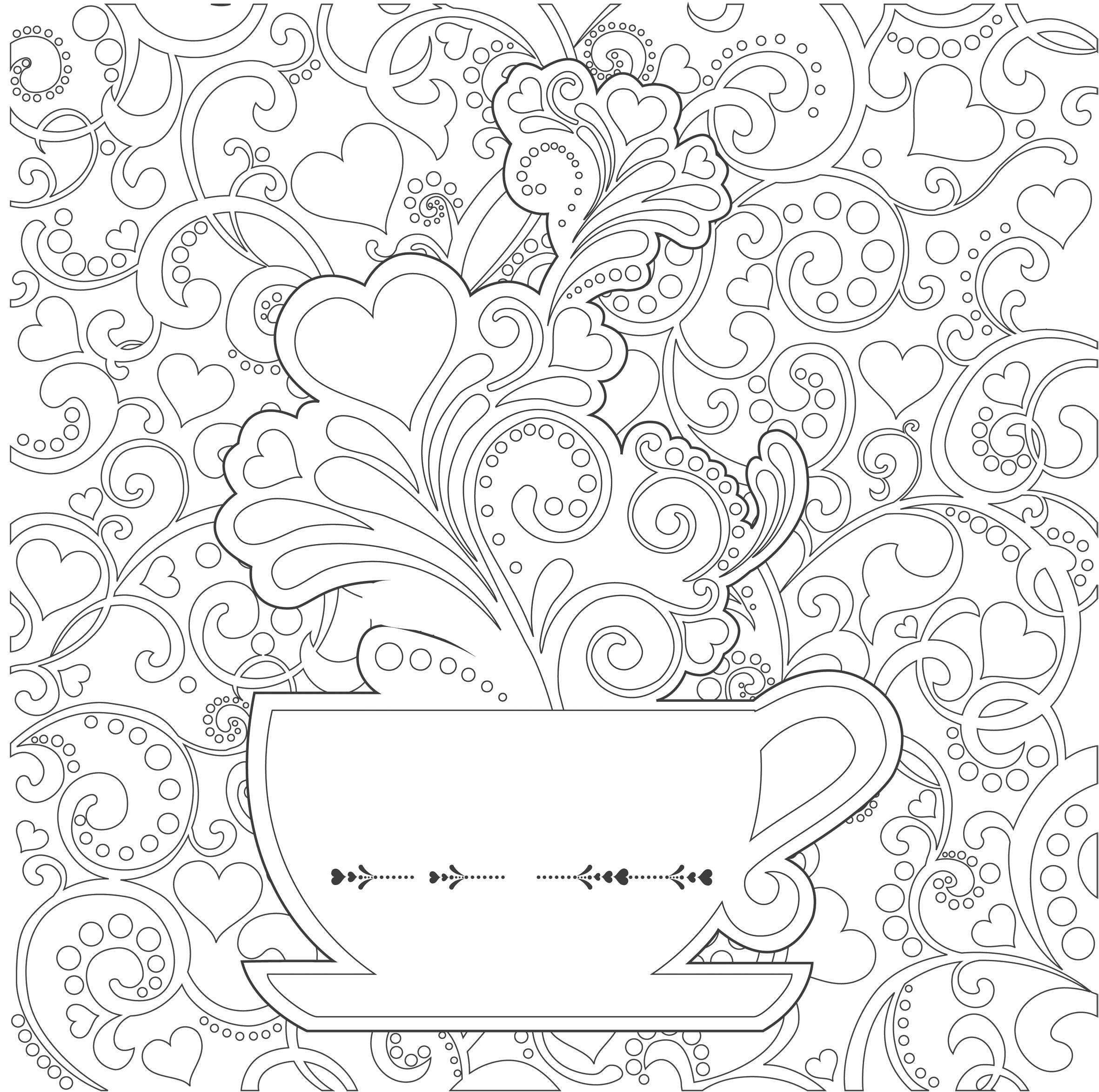 Раскраска Антистресс чашка кофе. Скачать узоры.  Распечатать антистресс