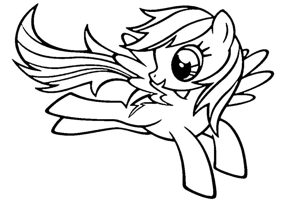 Раскраска Радуга Дэш . Скачать Пони.  Распечатать Пони