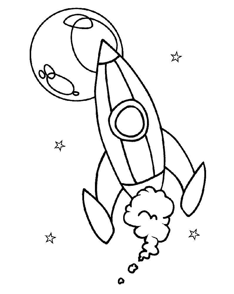 Раскраска Ракета. Скачать день космонавтики.  Распечатать день космонавтики