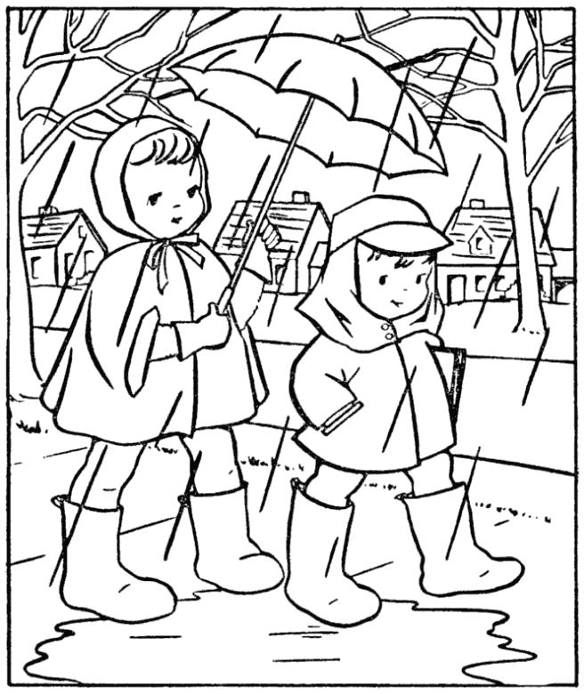 Раскраска Дети под дождем в резиновых сапогах. Скачать Осень.  Распечатать Времена года