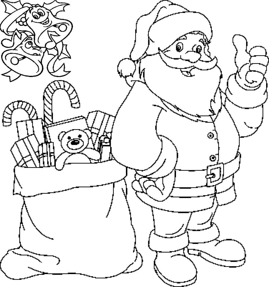 Раскраска Принёс подарочки. Скачать Дед мороз, Подарки.  Распечатать Новый год