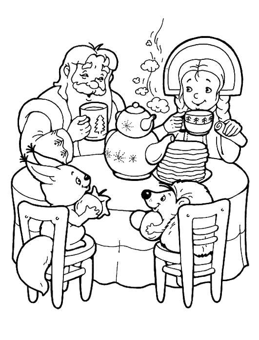 Раскраска Масленица. дед со внучкой ест блины . Скачать масленица.  Распечатать масленица