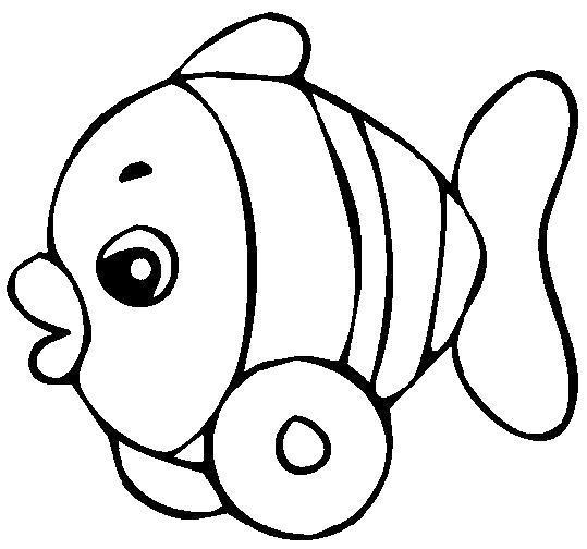Раскраска Игрушка для малышей - рыбка. Скачать .  Распечатать