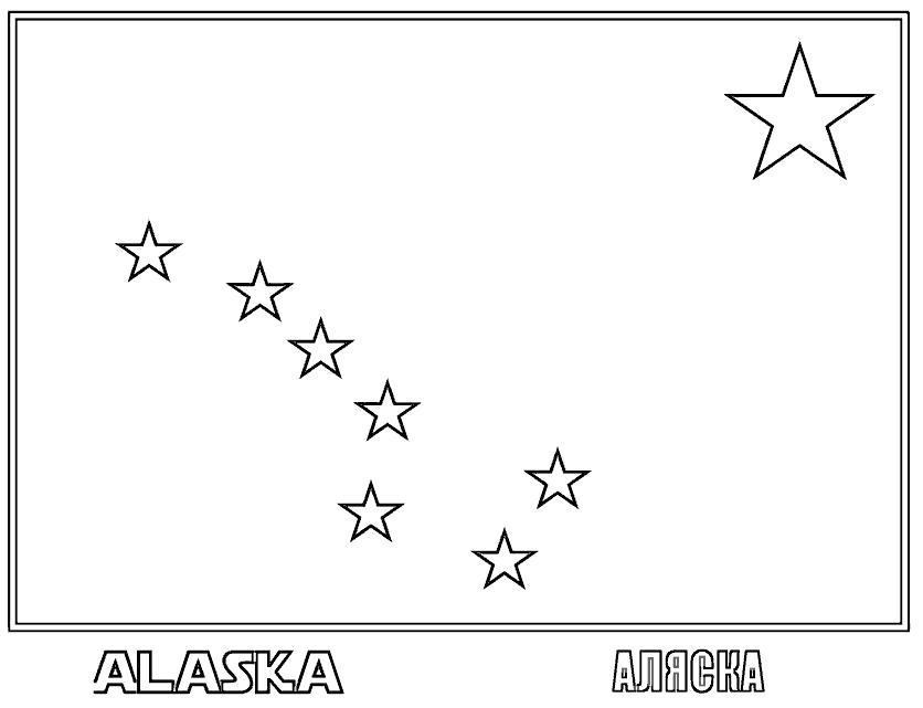 Раскраска Аляска. Скачать Флаги.  Распечатать Флаги