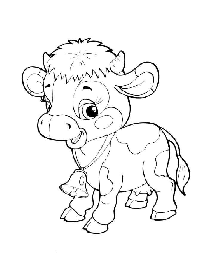Раскраска  корова, маленький буренок, Гаврюша с колокольчиком. Скачать Корова.  Распечатать Корова