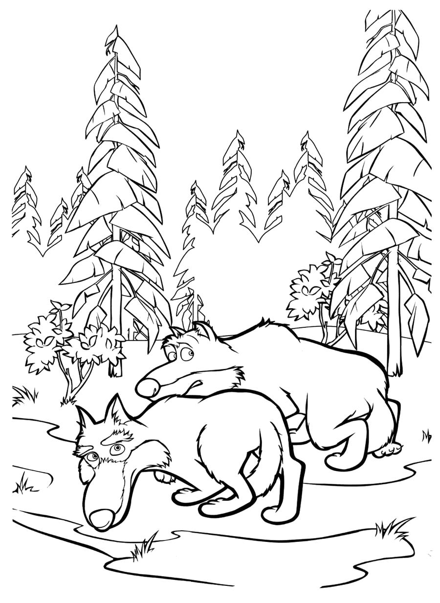 Раскраска  волки из мультика. Скачать .  Распечатать