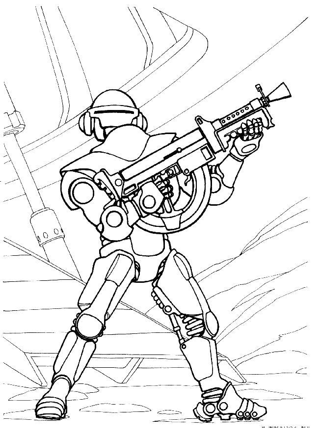 Раскраска робот с оружием. Скачать Робот.  Распечатать Робот