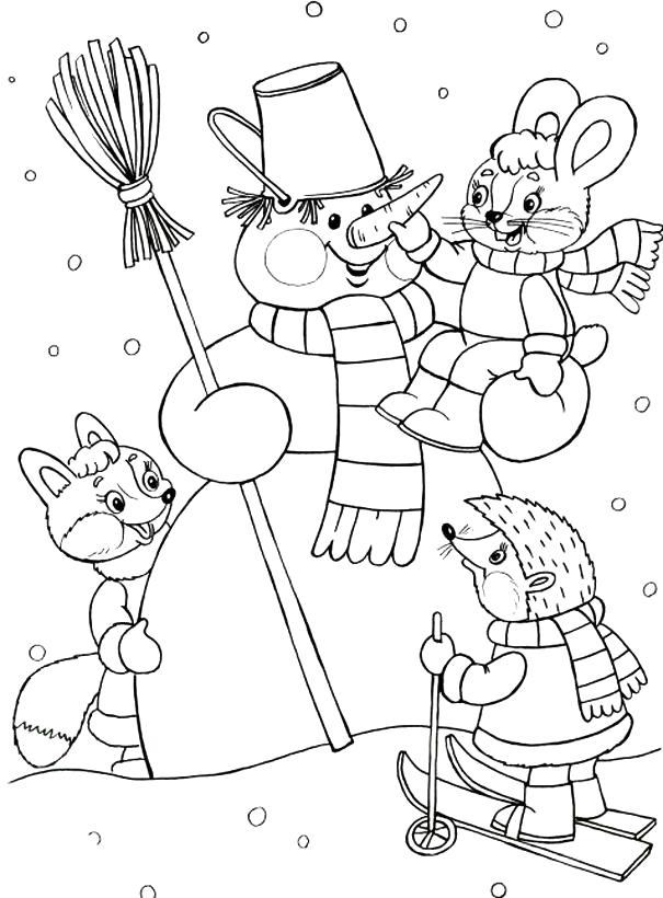 Раскраска снеговик и его друзья, ежик катается на лыжах, зайчик сидит у снеговика,  . Скачать новогодние.  Распечатать новогодние