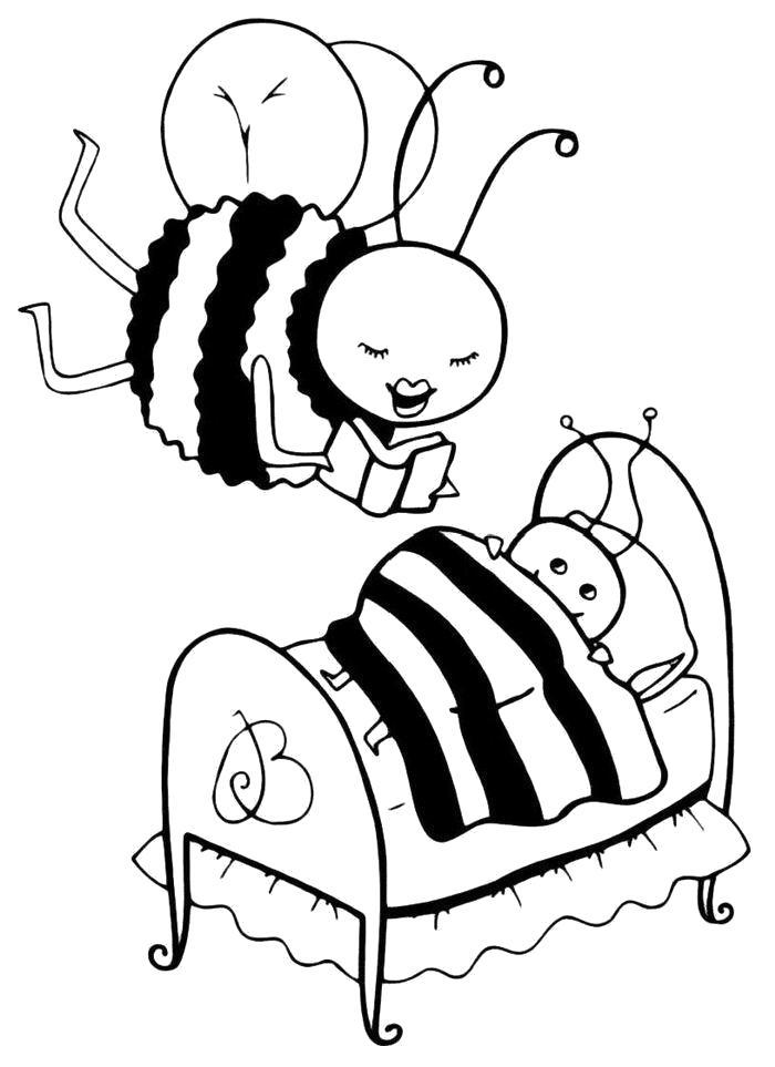 Раскраска  Пчела читает на ночь сказку. Скачать Пчела.  Распечатать Пчела