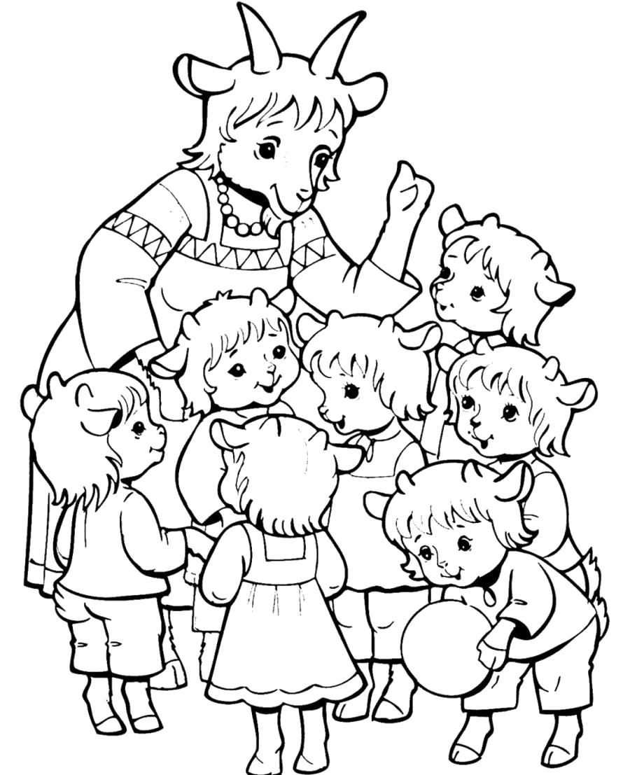 Раскраска Мама прощается с козлятами. Скачать .  Распечатать