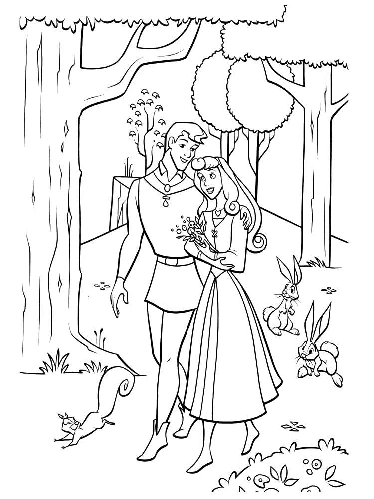 Раскраска Аврора и Филипп . Скачать Спящая красавица.  Распечатать Спящая красавица