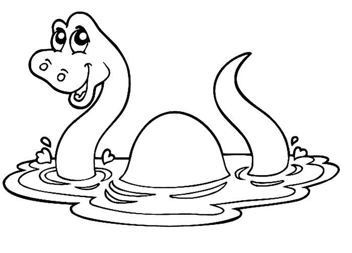 Раскраска дино купается. Скачать динозавр.  Распечатать динозавр