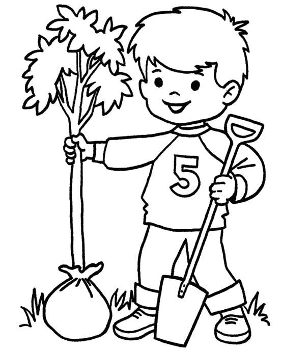 Раскраска Мальчик сажает дерево. Скачать .  Распечатать