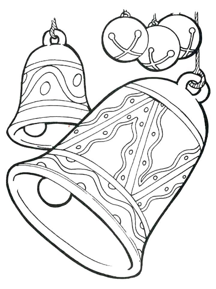 Раскраска колокольчики с шарами. Скачать Рождество.  Распечатать Рождество